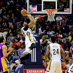 Nov 12, 2016; New Orleans, LA, USA;  New Orleans Pelicans forward Anthony Davis (23) shoots over Los Angeles Lakers forward Larry Nance Jr. (7) during the first half of a game at the Smoothie King Center. Mandatory Credit: Derick E. Hingle-USA TODAY Sports