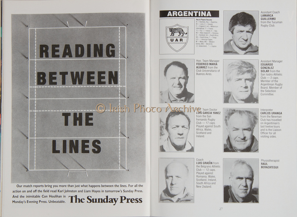Irish Rugby Football Union, Ireland v Argentina, Friendly, Landsdowne Road, Dublin, Ireland, Saturday 27th October, 1990,.27.10.1990, 10.27.1990,..Referee- Colin Hawke, New Zealand, ..Score- Ireland 20 - 18 Argentina, ..Irish Team, ..K Murphy,  Wearing number 15 Irish jersey, Full Back, Cork Constitution Rugby Football Club, Cork, Ireland,..K J Hooks, Wearing number 14 Irish jersey, Right Wing, Bangor Rugby Football Club, Down, Northern Ireland,..B J Mullin, Wearing number 13 Irish jersey, Right Centre, Blackrock College, Rugby Football Club, Dublin, Ireland, ..M J Kiernan, Wearing number 12 Irish jersey, Left Centre, Dolphin Rugby Football Club, Cork, Ireland, ..K D Crossan, Wearing number 11 Irish jersey, Left Wing, Instonians Rugby Football Club, Belfast, Northern Ireland,..B A Smith, Wearing number 10 Irish jersey, Out Half, Leicester Rugby Football Club, Leicester, England, ..A C Rolland, Wearing number 9 Irish jersey, Scrum Half, Blackrock College, Rugby Football Club, Dublin, Ireland, ..P J Lawlor, Wearing number 8 Irish jersey, Forward, Bective Rangers Rugby Football Club, Dublin, Ireland,..W D McBride, Wearing number 7 Irish jersey, Forward, Malone Rugby Football Club, Belfast, Northern Ireland, ..N P Mannion, Wearing number 6 Irish jersey, Forward, Landsdowne Rugby Football Club, Dublin, Ireland,..P S C Johns, Wearing number 5 Irish jersey, Forward, Trinity College Rugby Football Club, Dublin, Ireland, ..D G Lenihan, Wearing number 4 Irish jersey, Captain of the Irish team, Forward, Cork Constitution Rugby Football Club, Cork, Ireland,..D C Fitzgerald, Wearing number 3 Irish jersey, Forward, Landsdowne Rugby Football Club, Dublin, Ireland,..J P McDonald, Wearing number 2 Irish jersey, Forward, Malone Rugby Football Club, Belfast, Northern Ireland, ..N J Popplewell, Wearing number 1 Irish jersey, Forward, Greystones Rugby Football Club, Wicklow, Ireland,..Argentina Team, ..A Scolni, Wearing number 15 Argentinian jersey, Full Back, Asociación Alumni Rugby
