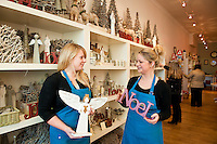 Rose Hopper (manager) and Racheal Oliver (shop assistant) show there Christmas decorations in Gartons of Yorkshire on North Bar Within.