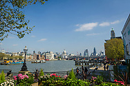 London, England - April 07, 2017: City of London Skyline with the River Thames in the foreground.
