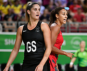 11th April 2018, Gold Coast Convention and Exhibition Centre, Gold Coast, Australia; Commonwealth Games day 7; Netball, England versus New Zealand; Geva Mentor of England  and Te Paea Selby-Rickit of New Zealand