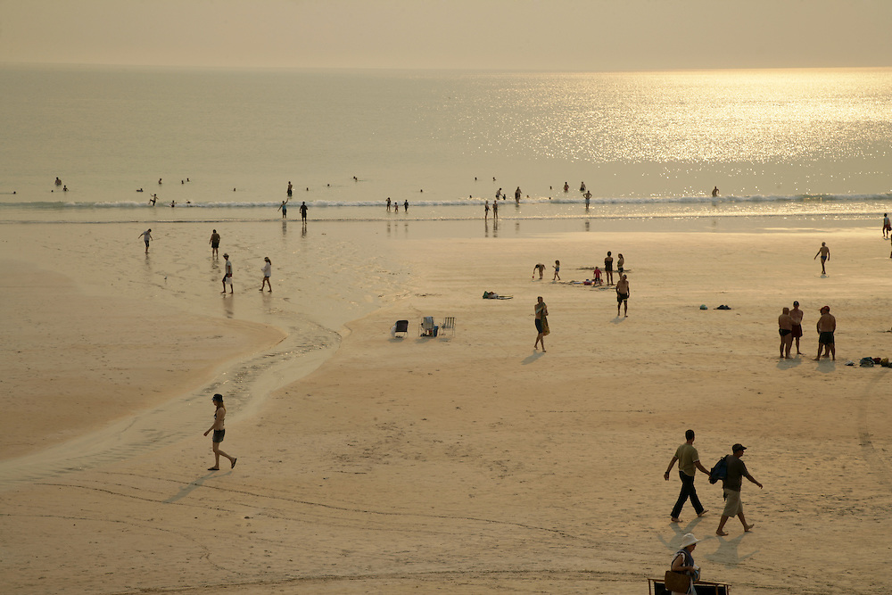 Cable Beach in Broome is a leisure spot where residents relax and tourists can ride dromedaries on the beach at sunset.