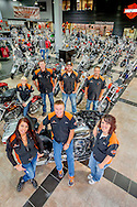sales people in main display room of J&L Harley-Davidson