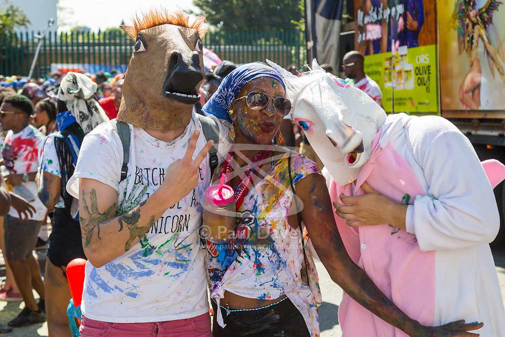 London, August 27 2017. Family Day of the Notting Hill Carnival gets underway. The Notting Hill Carnival is Europe's biggest street party held over two days of the bank holiday weekend, attracting over a million people. © Paul Davey.