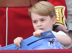 Members of The Royal Family attend Trooping the Colour 2018 at Buckingham Palace, London, UK, on the 9th June 2018. 09 Jun 2018 Pictured: Prince George. Photo credit: James Whatling / MEGA TheMegaAgency.com +1 888 505 6342