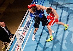 Fabiano Zana of Italy (BLUE) fights against Jan Sekol of Slovenia (RED) in Elite 69 kg Category during Dejan Zavec Boxing Gala event in Ljubljana, on March 11, 2017 in Grand Hotel Union, Ljubljana, Slovenia. Photo by Vid Ponikvar / Sportida