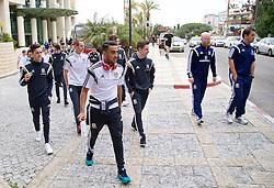 HAIFA, ISRAEL - Saturday, March 28, 2015: Wales' Neil Taylor and Joe Allen on a team walk ahead of the UEFA Euro 2016 qualifying Group B match against Israel. (Pic by David Rawcliffe/Propaganda)