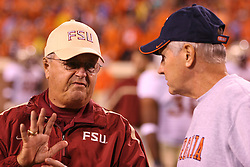 Florida State head coach Bobby Bowden meets with the University of Virginia's head coach Al Groh before a football game on October 15, 2005.  The Cavaliers upset #4 Florida State 26-21 at Scott Stadium in Charlottesville, VA.<br />