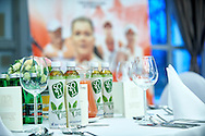 INOWROCLAW, POLAND - 2016 APRIL 14: SOTI tea drinks on the table while official dinner at The Palm House on two days before the Fed Cup / World Group Play Off round tennis match between Poland and Chinese Taipei at OSiR Hall on April 14, 2016 in Inowroclaw, Poland.<br /> <br /> Picture also available in RAW (NEF) or TIFF format on special request.<br /> <br /> Any editorial, commercial or promotional use requires written permission.<br /> <br /> Adam Nurkiewicz declares that he has no rights to the image of people at the photographs of his authorship.<br /> <br /> Mandatory credit:<br /> Photo by © Adam Nurkiewicz / Mediasport