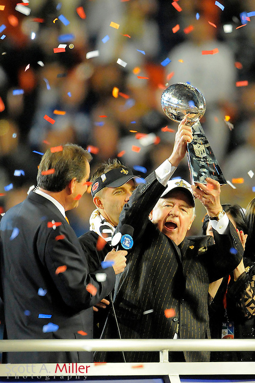 Feb 7, 2010; Miami, FL, USA; New Orleans Saints owner Tom Benson hoists the Lombardi trophy after defeating the Indianapolis Colts 31-17 in Super Bowl XLIV at Sun Life Stadium. ©2010 Scott A. Miller