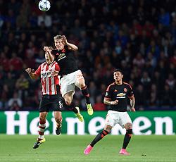 15-09-2015 NED: UEFA CL PSV - Manchester United, Eindhoven<br /> PSV kende een droomstart in de Champions League. De Eindhovenaren waren in eigen huis te sterk voor de miljoenenploeg Manchester United: 2-1 / Luuk de Jong #9, Bastian Schweinsteiger #31