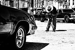 Sheldon Omar - Abba, 34, co-organizer and photographer sets uphill analog camera to make a photo of a classic car as members of the local classic and American muscle car community gathers for a meet on a North Philadelphia, on September 15, 2019.