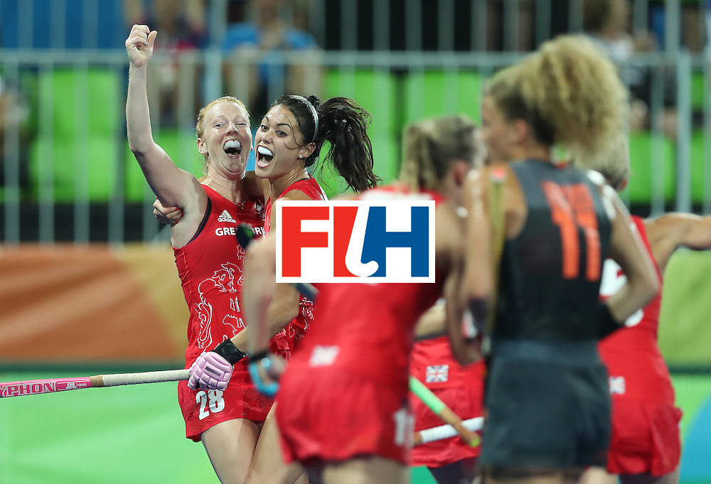 RIO DE JANEIRO, BRAZIL - AUGUST 19:  Lily Owsley of Great Britain celebrates scoring during the Women's Hockey final between Great Britain and the Netherlands on day 14 at Olympic Hockey Centre on August 19, 2016 in Rio de Janeiro, Brazil. (Photo by Ian MacNicol/Getty Images)