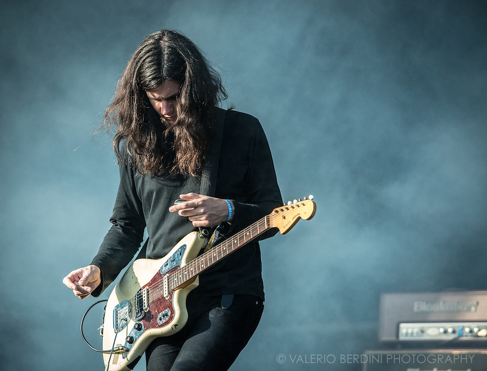Joshua Hayward guitarist with The Horrors play live on the main stage of Field Day festival in London Victoria Park on 8 June 2014