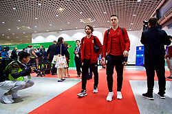 NANNING, CHINA - Monday, March 26, 2018: Wales' Joe Allen and James Chester arrive before the 2018 Gree China Cup International Football Championship Final between Wales and Uruguay at the Guangxi Sports Centre. (Pic by David Rawcliffe/Propaganda)