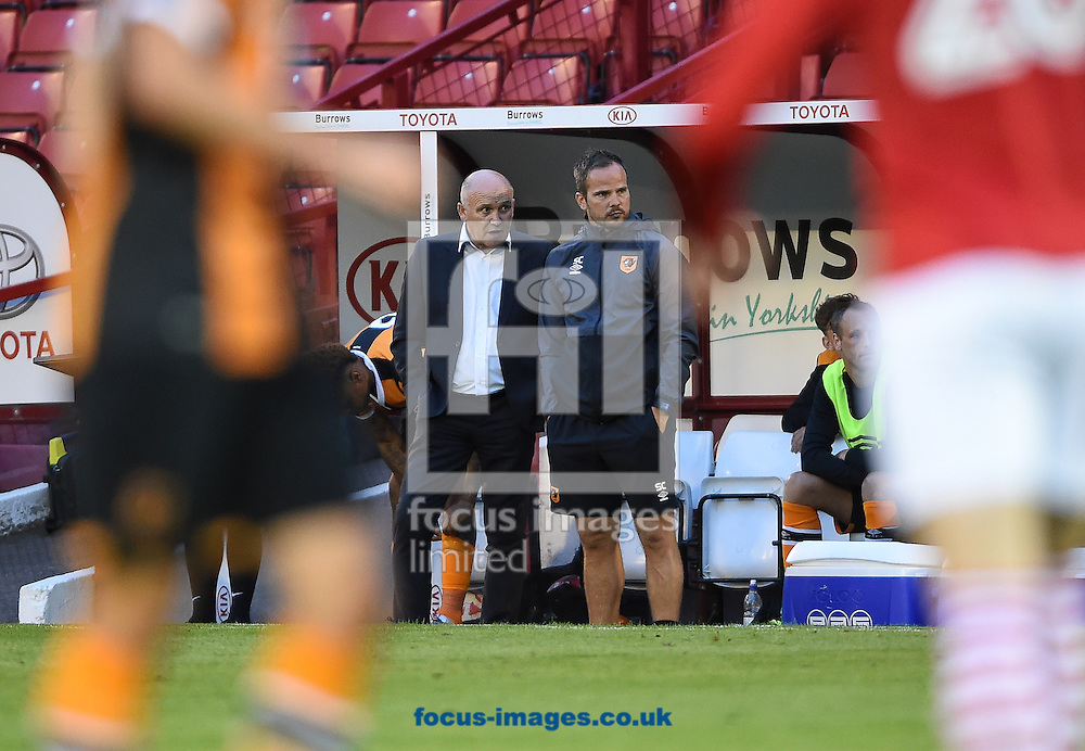Caretaker manager of Hull City Mike Phelan and first team coach Stephen Clemence during the pre-season match at Oakwell, Barnsley, UK.<br /> Picture by Daniel Hambury/Focus Images Ltd +44 7813 022858<br /> 26/07/2016