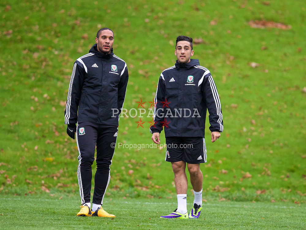 CARDIFF, WALES - Wednesday, November 13, 2013: Wales' captain Ashley Williams and Neil Taylor during a training session at the Vale of Glamorgan ahead of the international friendly match against Finland. (Pic by David Rawcliffe/Propaganda)
