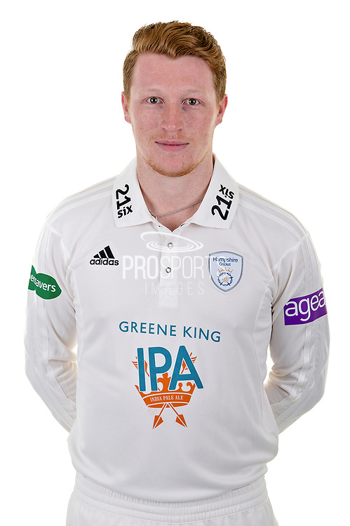 Thomas Alsop of Hampshire in Specsavers County Championship kit  during the Hampshire County Cricket Club Media Day at the Ageas Bowl, Southampton, United Kingdom on 10 April 2018. Picture by Dave Vokes.