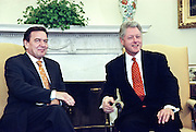 President Clinton meets with German Chancellor Gerhard Schroeder (L) in the Oval Office of the White House February 11, 1999. Traditional close ties between the United States and Germany have cooled since Schroeder beat Helmet Kohl in general elections last September.