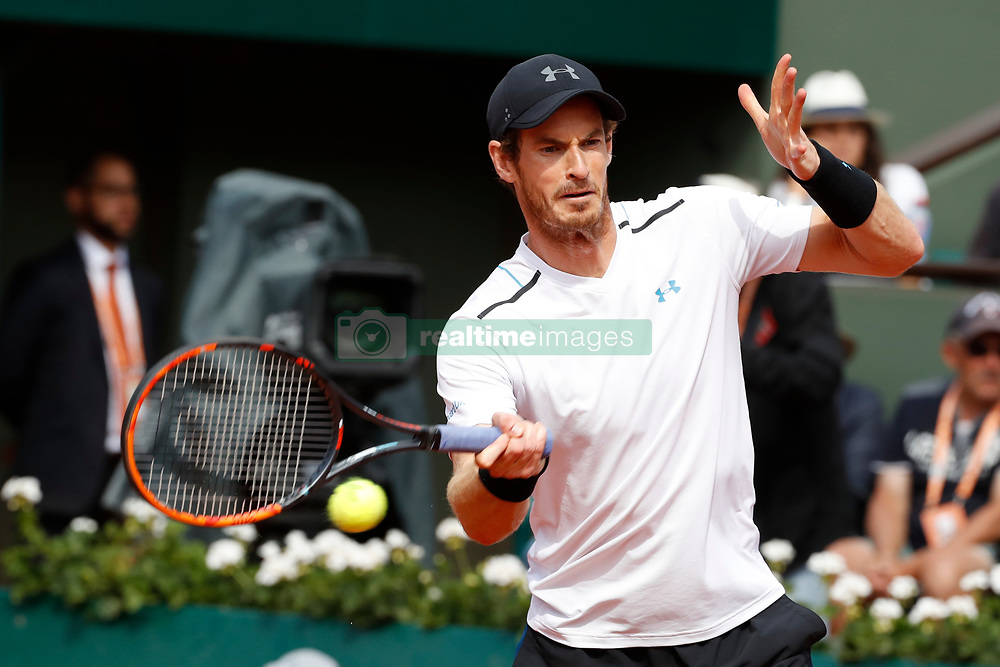United Kingdom's Andy Murray playing in the 1/4 final round in the 2017 French Tennis Open in Paris, France on June 7th, 2017. Photo by Henri Szwarc/ABACAPRESS.COM