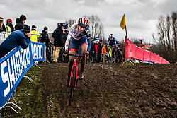 Helen WYMAN of Great Britain during last lap of Women Elite race, UCI Cyclo-cross World Championships at Valkenburg, the Netherlands, 3 February 2018. Photo by Pim Nijland / PelotonPhotos.com | All photos usage must carry mandatory copyright credit (Peloton Photos | Pim Nijland)