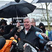Kristinn Hrafnsson is a Icelandic journalist addresses journalist outside Woolwich Crown Court on an extradition hearing of WikiLeaks Founder Julian Assange on 24th Feb 2020, London, UK.
