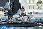 Sulaiman Almanji of Team Oman Air replaces Emirates Team New Zealand sailor Edwin DeLatt when Edwin took ill.  Day three of the Extreme Sailing Series Regatta at Nice. 4/10/2014