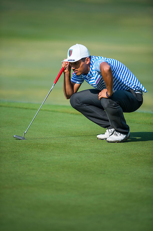 Shubhanm Narain of India in action during day two of the 10th Faldo Series Asia Grand Final at Faldo course on 03 March of 2016 in Shenzhen, China. Photo by Xaume Olleros.