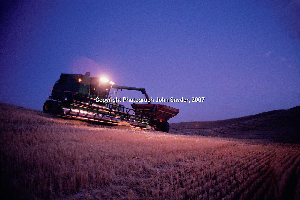 Wheat harvest continues beyond sunset in this twilight view near Colfax, Washington. The Palouse is one of the most productive dry-farming regions of the world boasting bountiful harvests of wheat, peas, and lentils..