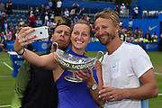 Petra Kvitova of the Czech Republic taking a selfie with the trophy and her team after winning her  match (4-6) (6-3) (6-2) at the Final of the Aegon Classic Birmingham at Edgbaston Priory Club, Edgbaston, United Kingdom on 25 June 2017. Photo by Martin Cole.