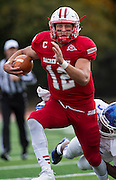 Sacred Heart quarterback RJ Noel during a football game between Sacred Heart University and Central Connecticut State University held at Sacred Heart University, Fairfield, CT Saturday, October 24, 2015.