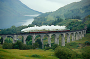 The Royal Scotsman hauled by a vintage steam engine at Glenfinnan Viaduct between Mallaig and Fort William.