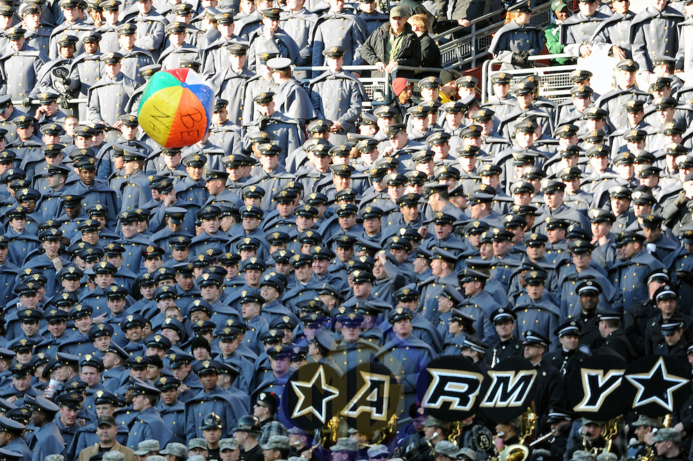 10 December 2011:   A beach ball is tossed around on the Army side during the game against the Navy Midshipmen at Fed Ex field in Landover, Md.  in the 112th annual Army Navy game where Navy defeated Army, 27-21 for the 10th consecutive time.