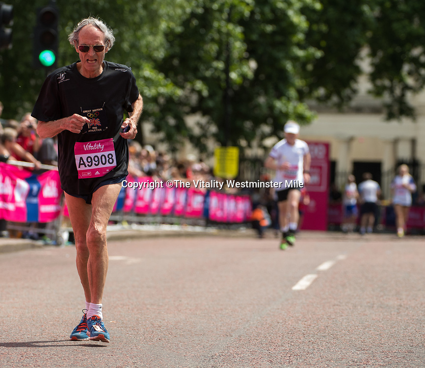 Eric Shirley finishes in the Olympian Wave at the finishing line outside Buckingham Palace at The Vitality Westminster Mile, Sunday 28th May 2017.<br /> <br /> Photo: Thomas Lovelock for The Vitality Westminster Mile<br /> <br /> For further information: media@londonmarathonevents.co.uk