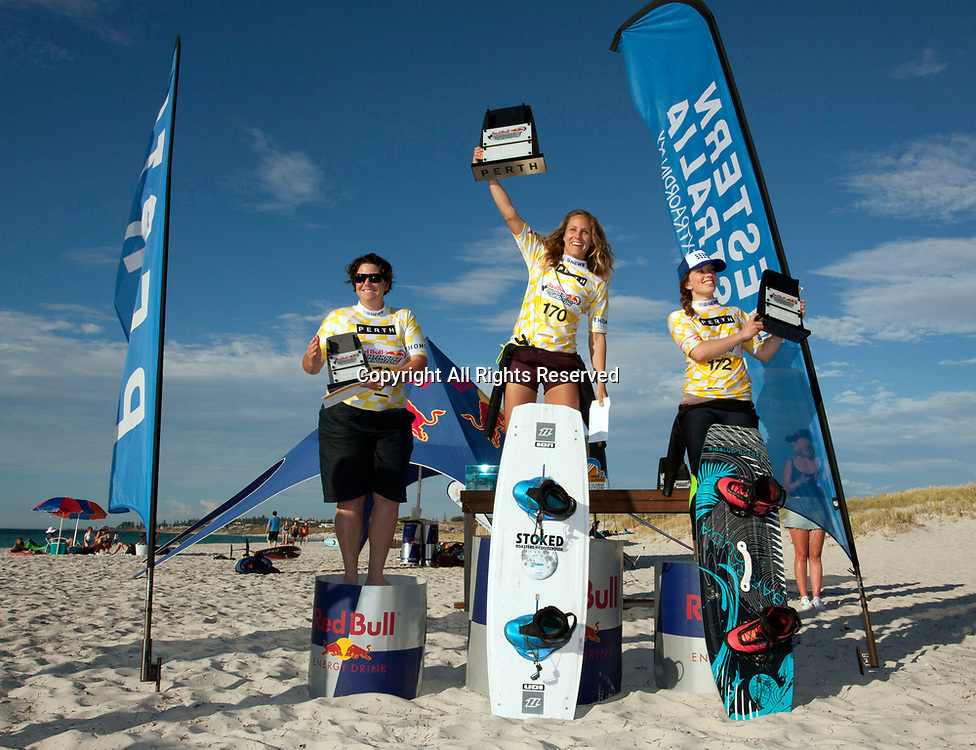 10th December 2017, Leighton Beach, Perth, Australia; Red Bull Lighthouse to Leighton kiteboard race; Winners of the twin tip left to right 3rd Kathryne Davies (AUS), 1st Colleen Carroll (USA), and Rachael Hughes (NZL)