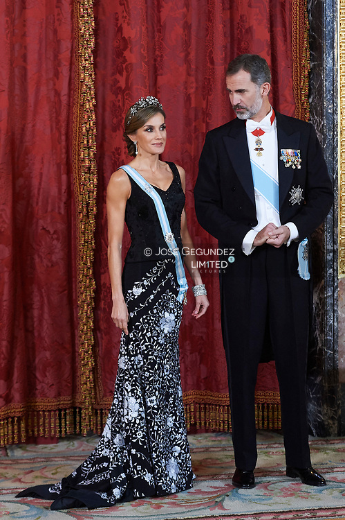King Felipe VI of Spain, Queen Letizia of Spain attended a Gala dinner at the Royal Palace on November 6, 2017 in Madrid, Spain