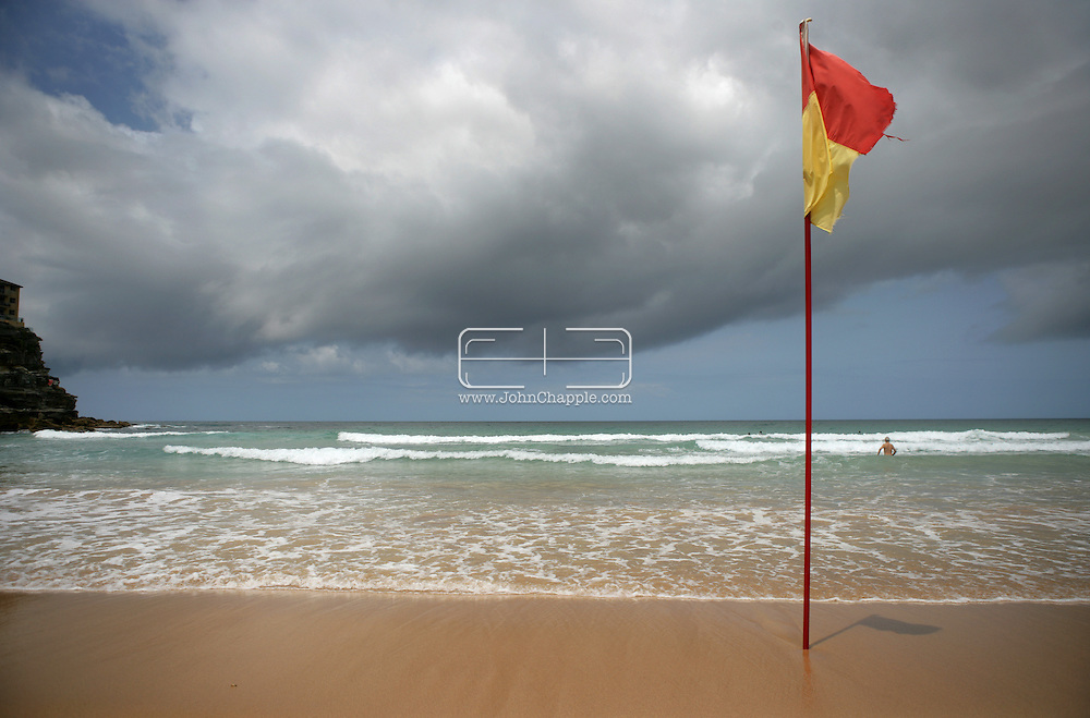 5th February 2007. Sydney, NSW. A lifeguard flag at Manly beach, Sydney. PHOTO © JOHN CHAPPLE / REBEL IMAGES.tel 310 570 9100.john@chapple.biz.www.chapple.biz.