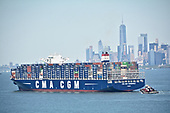 Containership MV 'CMA CGM T Roosevelt' in New York Harbor