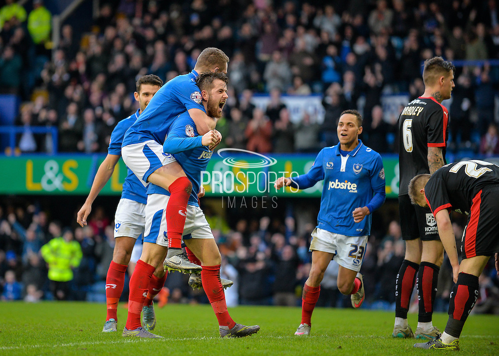 Portsmouth striker Marc McNulty makes it 2-0 during the Sky Bet League 2 match between Portsmouth and Crawley Town at Fratton Park, Portsmouth, England on 2 January 2016. Photo by Adam Rivers.