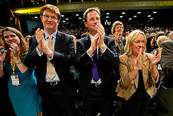 © London News Pictures. 24/09/2012. Brighton, UK.  L to R - Jo Swinson MP, Danny Alexander MP,  Liberal Democrat Leader Nick Clegg and Lorely Burt MP applaud   Business Secretary, Vince Cable after he delivered his speech on day 3 of the Liberal Democrat Conference on September 24, 2012. Photo credit : Ben Cawthra/LNP.