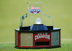 The Peach Bowl Challenge trophy sits on the 9th green during the Chick-fil-A Peach Bowl Challenge at the Ritz Carlton Reynolds, Lake Oconee, on Monday, April 30, 2019, in Greensboro, GA. (Paul Abell via Abell Images for Chick-fil-A Peach Bowl Challenge)