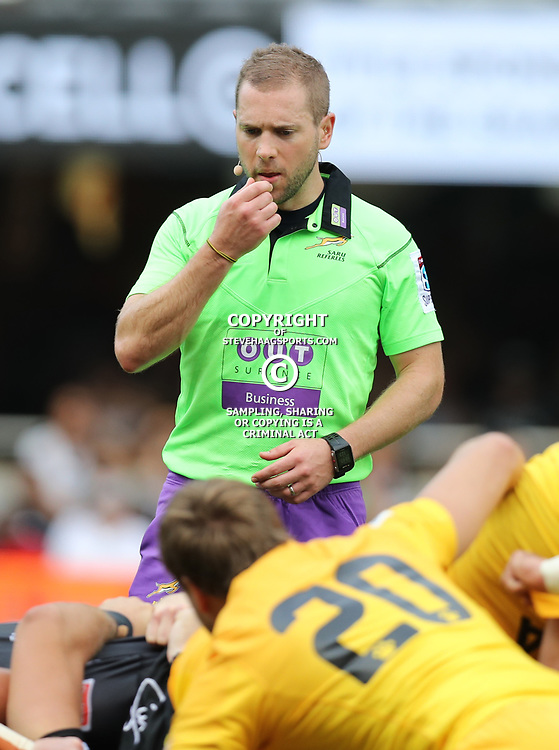 Referee: Angus Gardner (Australia) during the Super Rugby match between the Cell C Sharks and the Jaguares  April 8th 2017 - at Growthpoint Kings Park,Durban South Africa Photo by (Steve Haag