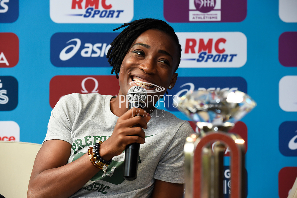 Marie-Josee Ta Lou (CIV) during press conference of Meeting de Paris 2018, Diamond League, at Hotel Marriott, in Paris, France, on June 29, 2018 - Photo Jean-Marie Hervio / KMSP / ProSportsImages / DPPI