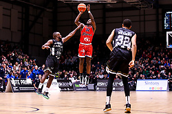 Jalan McCloud of Bristol Flyers shoots - Photo mandatory by-line: Robbie Stephenson/JMP - 01/03/2019 - BASKETBALL - Eagles Community Arena - Newcastle upon Tyne, England - Newcastle Eagles v Bristol Flyers - British Basketball League Championship