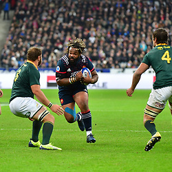 (R-L) Mathieu Bastareaud of France takes on Duane Vermeulen of South Africa during the test match between France and South Africa at Stade de France on November 18, 2017 in Paris, France. (Photo by Dave Winter/Icon Sport)