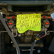 OCTOBER 25 - UTUADO, PUERTO RICO - <br /> A sign on a water truck with 2,000 gallons of potable water parked near a baseball park in Utuado offering residents free water. The The 3rd battalion 264 from Fort Bragg is using a water filtration system to purify water from the nearby Lago Dos Bocas.<br /> (Photo by Angel Valentin/Freelance)