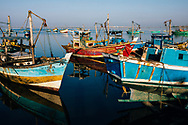 Fishing boats moored at the harbor, Jaffna Peninsula, Sri Lanka, Asia