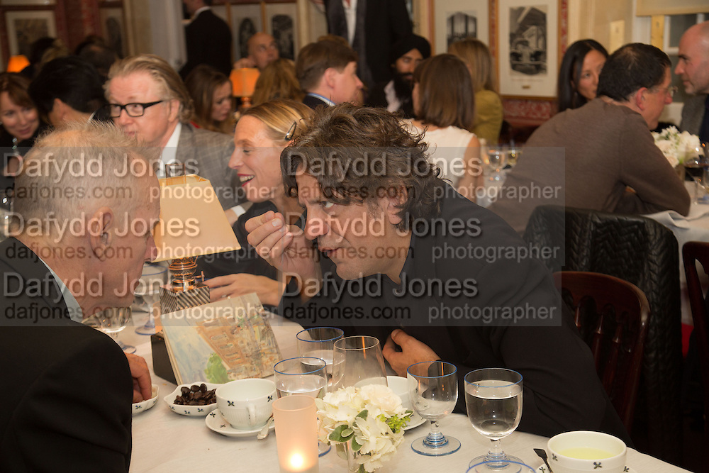 JAMES FOX; GIORGIO LOCATELLI, Charles Finch and  Jay Jopling host dinner in celebration of Frieze Art Fair at the Birley Group's Harry's Bar. London. 10 October 2012.
