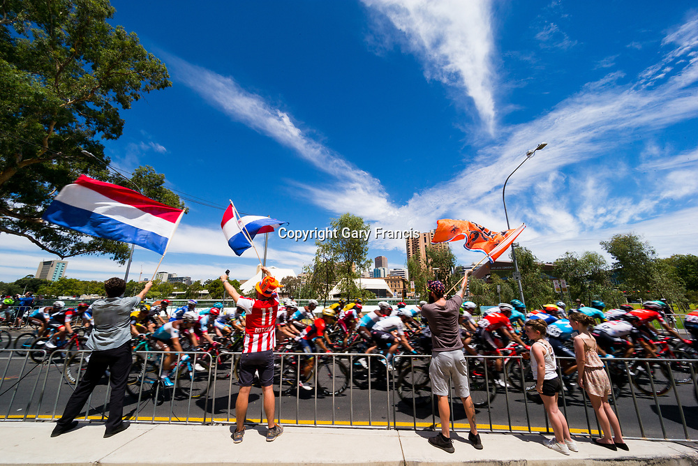 Flag waving spectators at Stage 6, Adelaide City Circuit, of the Tour Down Under, Australia on the 21 of January 2018 ( Credit Image: © Gary Francis / ZUMA WIRE SERVICE )