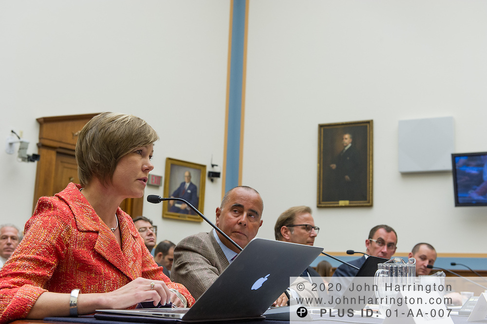 "Sandra Aistars, Executive Director of the Copyright Alliance delivers her testimony to the U.S. House of Representatives Committee on the Judiciary, Subcommittee on Courts, Intellectual Property and the Internet, as Eugene Mopsik, Executive Director of the American Society of Media Photographers (right) looks on, on the subject ""Innovation in America: The Role of Copyrights"", Thursday July 25, 2013 on Capitol Hill in Washington DC."